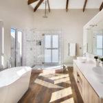 Bathroom interior design with timber