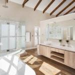 Double vanity and freestanding bath